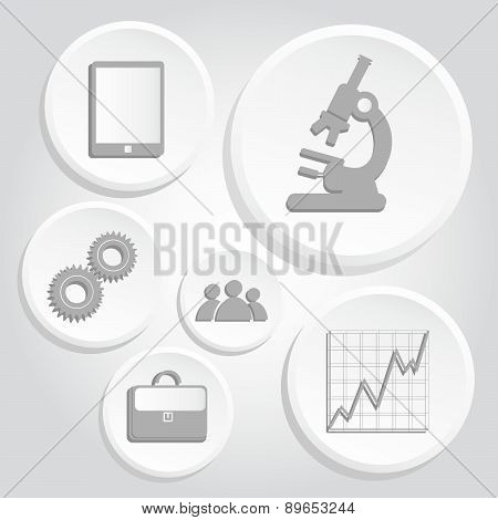 Gray Icons Of Science And Business