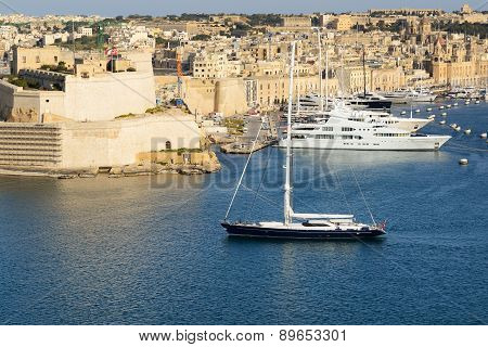 The View On Vittoriosa And Yachts In Sunset, Malta