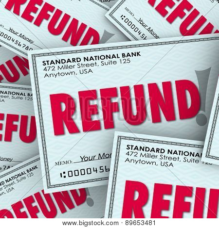 Refund word on checks as money back payments from taxes or rebates