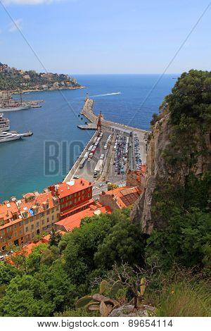Nice (cote D'azur, France) With Rock Hills, Harbor And Lighthouse.
