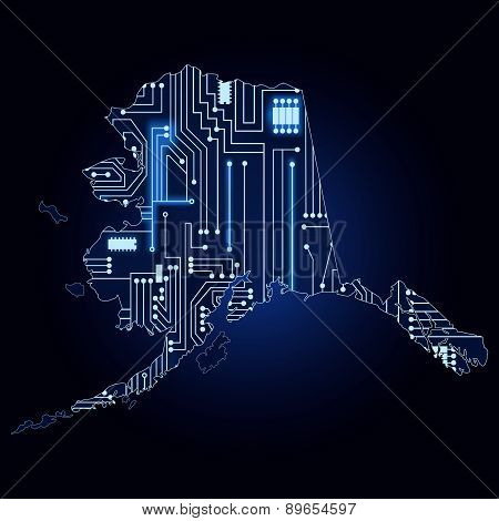 Map Of Alaska With Electronic Circuit