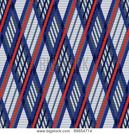Tartan Seamless Rhombus Texture In Blue, Red And Grey