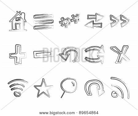 Hand drawn web icons and logo, arrows, internet browser elements set. Sketch, doodle liner style. Un