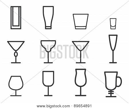 Beverage vector thin line symbol icon. Cocktails. Party outline elements isolated on white backgroun