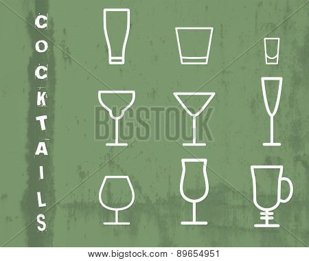 Beverage vector thin line symbol icon. Cocktails. Party outline elements isolated on green grunge ba