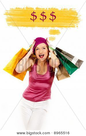Young Pretty Shopping Woman Thinking About Money. Creative Design