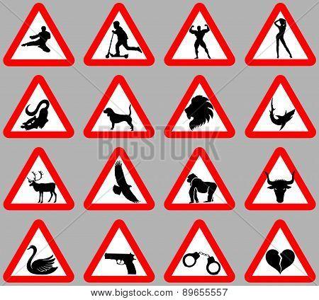 set warning signs