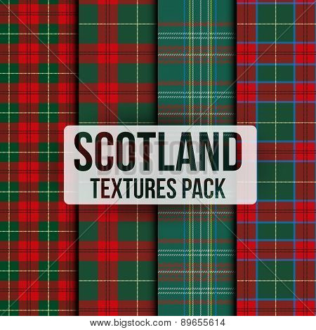 Set of tartan fabric texture pattern seamless