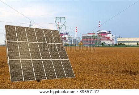 Solar panel before the nuclear power plant Temelin, Czech Republic