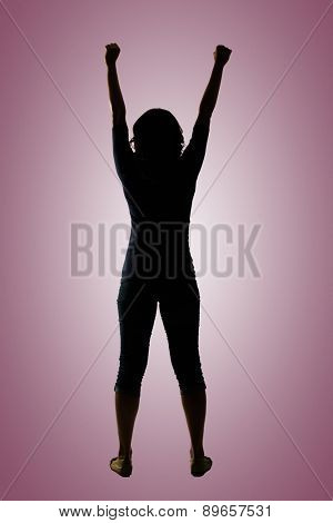 Silhouette of young Asian woman pose, full length portrait isolated on white.