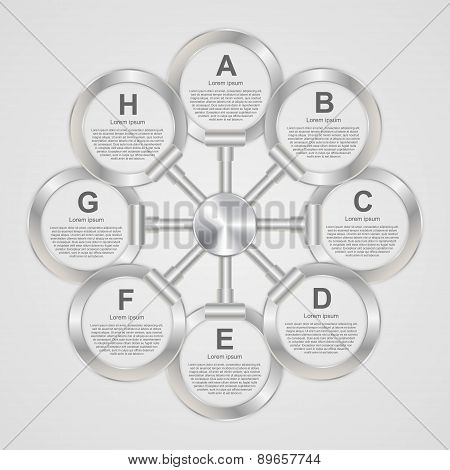 Abstract Round Metal Business Options Infographics Design With Chrome Steel Surface. Vector Illustra