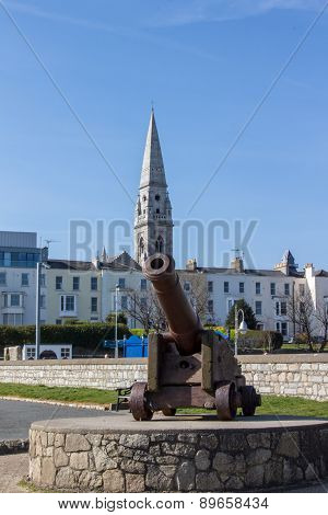 Historic Gun At The Seaside Of Dublin Bay In Dún Laoghaire, Ireland, 2015