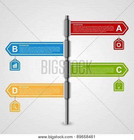 Vector Arrow Signpost Business Options Infographics Design Template.