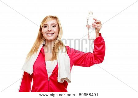 Sporty Girl Towel On Shoulders Drinking Water