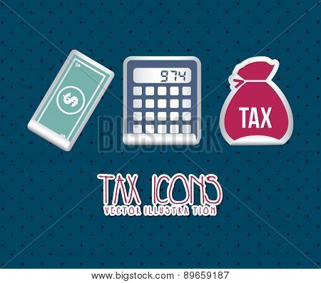 Tax Icons Over Blue Background Vector Illustration