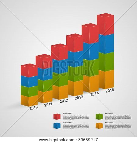3D Financial Bar Graph Infographic Or Timeline. Vector Illustration.
