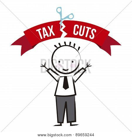 Businessman With Tax Icon Over White Background Vector
