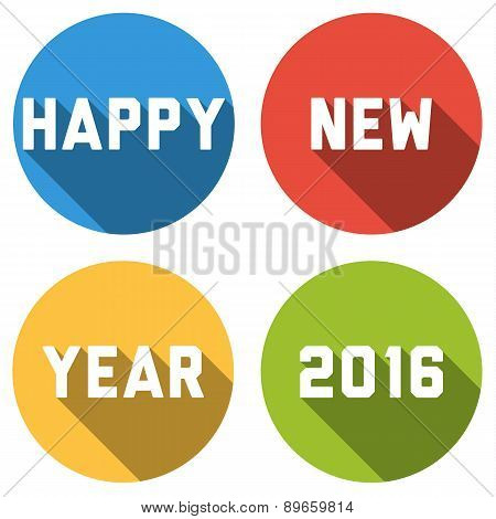 Happy New Year 2016 Card With Text With Long Shadow In Colorful Bubbles