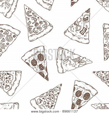 Hand drawn slices of pizza outline seamless pattern