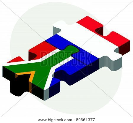 South Africa And France Flags In Puzzle