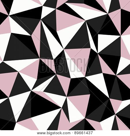 Black and Pink Colors Triangle Seamless Pattern