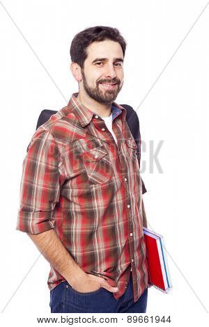 Portrait of a smiling student, isolated on white background