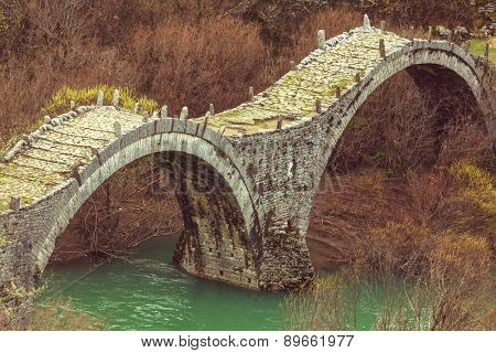 Traditional stone bridge in  Greece