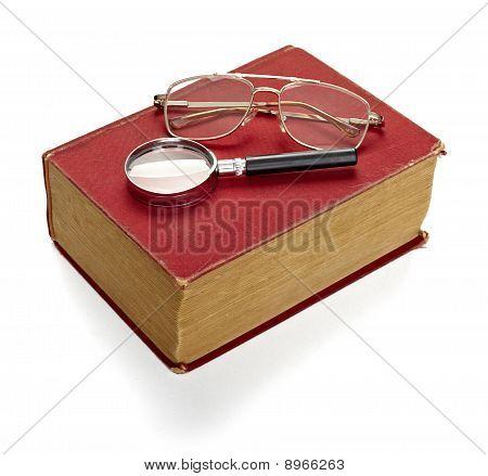 Old Book Knowledge Education Retro Vintage Glasses Eyeglasses Loupe