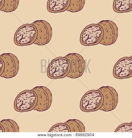 Walnut seamless pattern