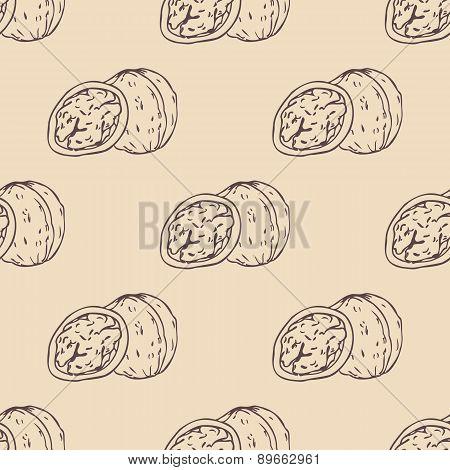 Outline walnut seamless pattern