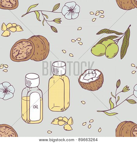 Healing oils seamless pattern. Healthy background