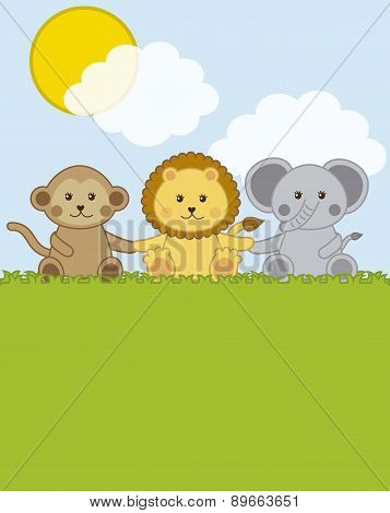 Baby Animals Over Landscape With Clouds  Vector Illustration