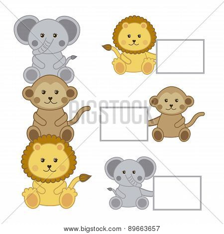 Baby Animals With Announcements Isolated  Vector Illustration