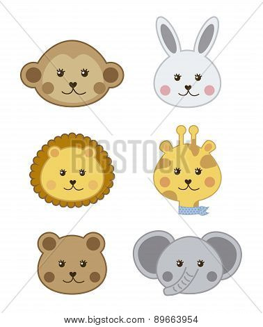 Faces Baby Animals Isolated Over White Background Vector Illustr
