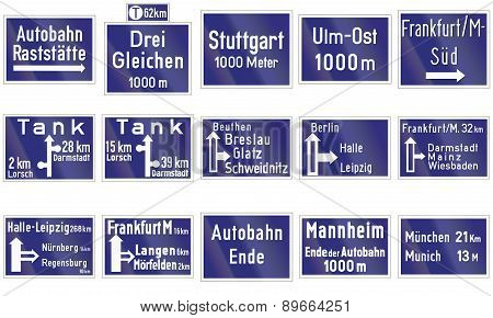 Historic Highway Direction Signs In Germany