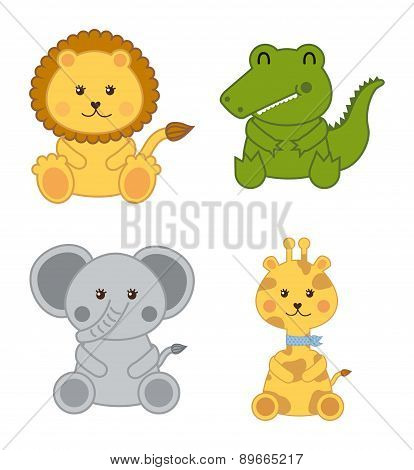 Baby Animals Isolated Over White Background Vector Illustration