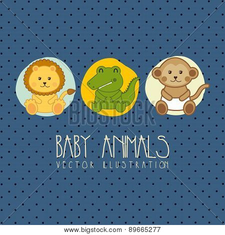 Baby Shower Card With Baby Animals Vector Illustration