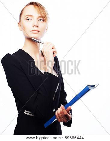 Business, finance and people concept:  businesswoman with folders isolated on white