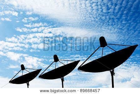 Satellite dish on the roof silhouette.sky background