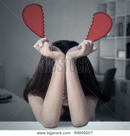 Lonely Girl With Broken Heart At Home