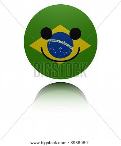 Brazil happy icon with reflection illustration