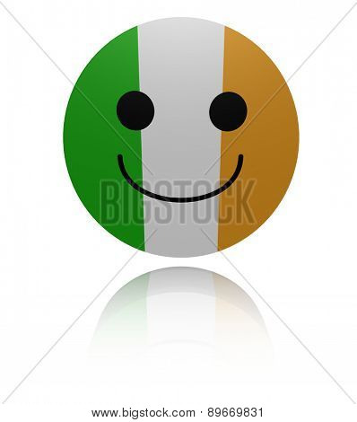 Irish flag happy icon with reflection illustration