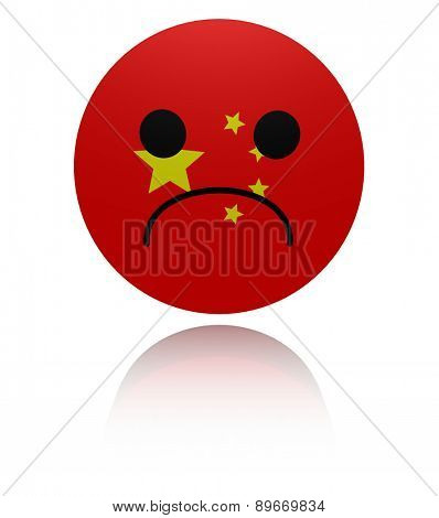 Chinese sad icon with reflection illustration