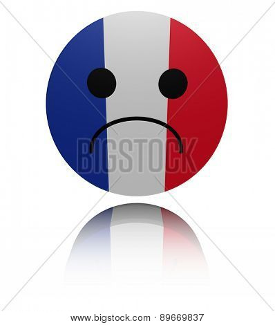French flag sad icon with reflection illustration
