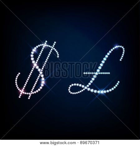 Diamond glittering Dollar symbol and Pound sign of sparkling brilliants (glitter font concept)