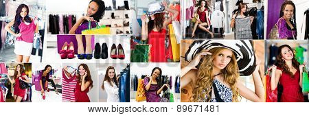 collage of photos of beautiful girls doing shopping clothes and shoes