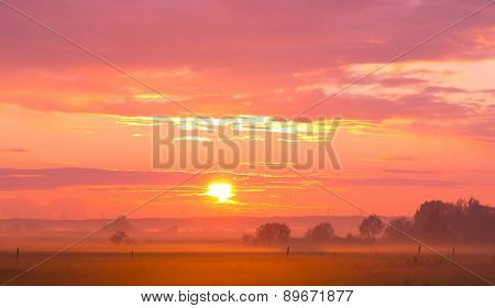 Red Sunbeams Rural Landscape