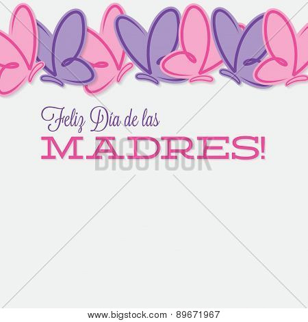 Spanish Line Of Butterflies Mother's Day Card In Vector Format.
