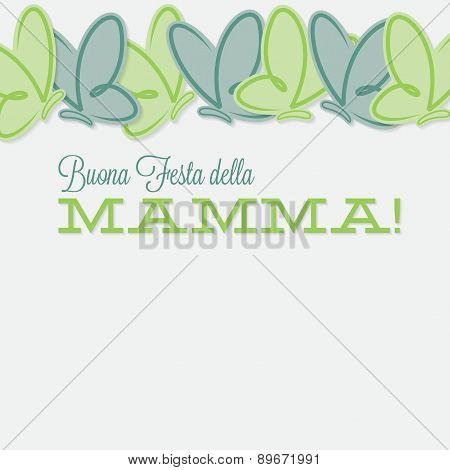 Italian Line Of Butterflies Mother's Day Card In Vector Format.