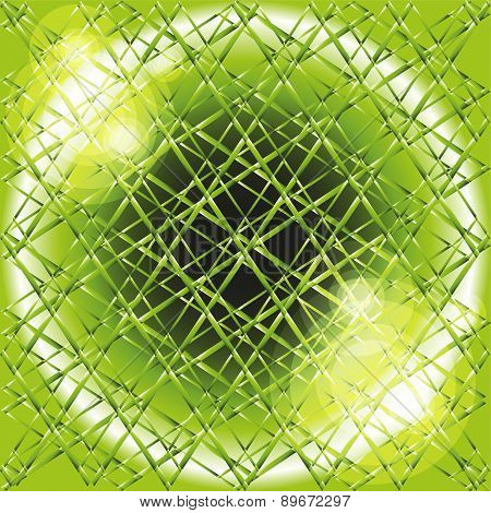 Explosion circle light dots, Abstract background in grid of green